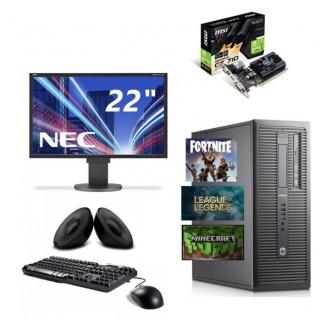 "Gaming PC SET HP ELITEDESK 800 G1, I5 4570 3.2GHZ, 16GB DDR3, 250GB SSD & 500GB HDD, 2GB VGA, DVDRW - WIN 7 PRO + Οθόνη 19"" + Πληκτ/γιο, Mouse, Ηχεία"
