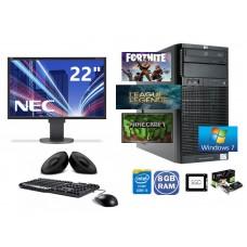 """Gaming PC SET -  HP PROLIANT ML110 G6, INTEL i3-550 3,2GHZ, 8GB RAM DDR3, 250GB SSD, VGA 2 GB, DVD-R - Win 7 Pro + Οθόνη 22"""" + Πληκτ/γιο, Mouse, Ηχεία"""